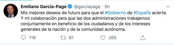 García-Page muestra sus 'mejores deseos de futuro' para que el nuevo Gobierno acierte en sus decisiones
