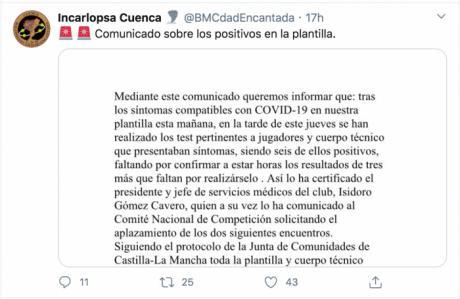 El Incarlopsa Cuenca anuncia que tiene seis jugadores con coronavirus