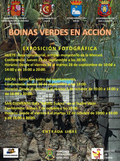 """La exposición """"Boinas Verdes en Acción"""" llega a Huete, Arcas y San Clemente"""