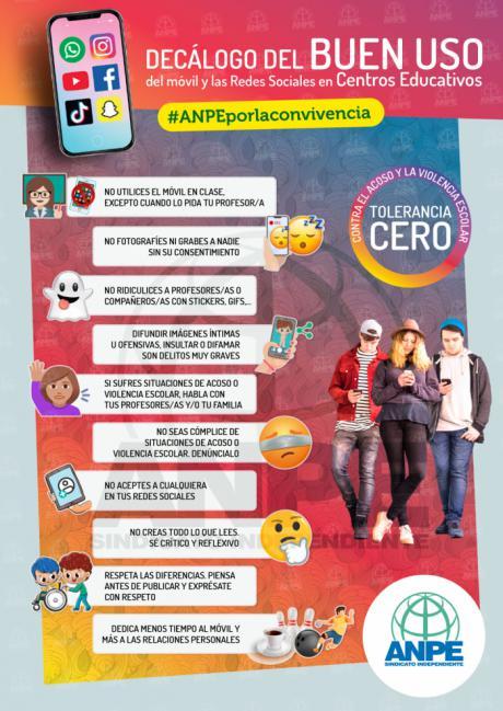 ANPE lanza una campaña sobre el buen uso del móvil y las redes sociales en los centros educativos