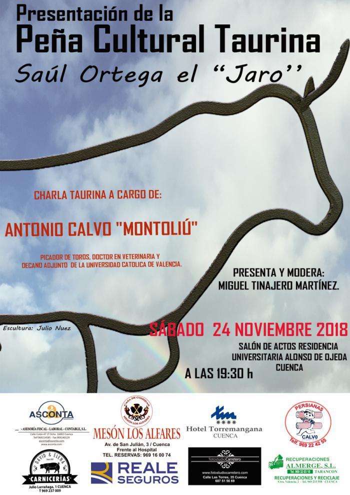 Montoliú, picador de toros y veterinario, ofrecerá una conferencia en la presentación de la Peña Cultural Taurina Saúl Ortega