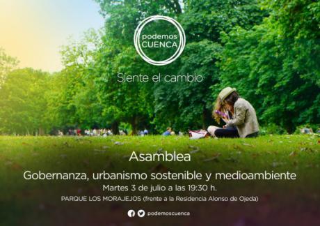 """Podemos Cuenca celebrará el próximo día 3 de julio la última de sus asambleas temáticas bajo el título: """"Gobernanza, urbanismo sostenible y medioambiente"""""""