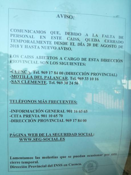"""Denuncian el cierre del Centro de Atención e Información de la Seguridad Social de Tarancón por """"falta de personal"""""""
