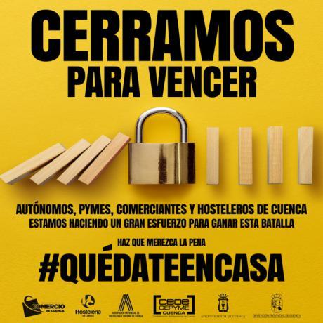 La Asociación de Comercio y HC Hostelería lanzan la campaña 'Cerramos para vencer' pidiendo a los conquenses que se queden en casa