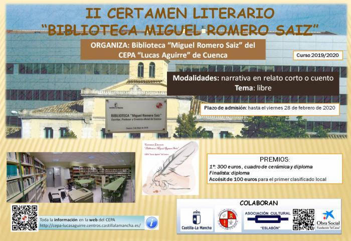 """Convocada la segunda edición del Certamen Literario Regional """"Biblioteca Miguel Romero Saiz"""""""