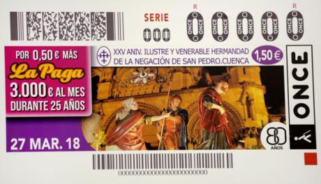 El XXV Aniversario de la Fundación de la Ilustre y Venerable Hermandad de La Negación de San Pedro en el cupón de la ONCE
