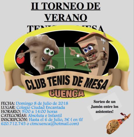 El 8 de Julio se celebra en la capital conquense el II torneo de Verano de Tenis de Mesa