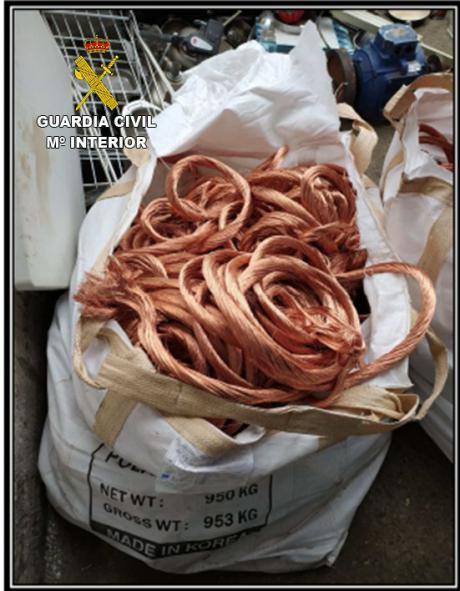 La Guardia Civil detiene a los integrantes de un grupo criminal especializado en el robo de cable de cobre