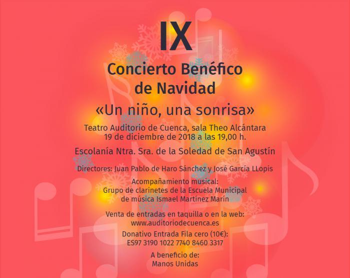 """La V. H. de la Soledad de San Agustín celebra el día 19 su IX Concierto Benéfico de Navidad """"Un niño, una sonrisa"""""""