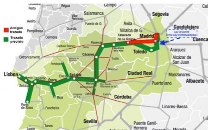 Corredor ferroviario del suroeste o AVE Madrid-Toledo-Badajoz-Lisboa (Foto original: El Periódico de Extremadura