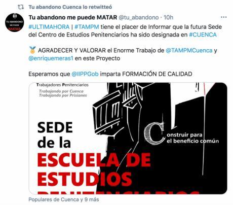 Trabajadores de instituciones penitenciarias celebran la designación de Cuenca como sede del Centro de Estudios Penitenciarios