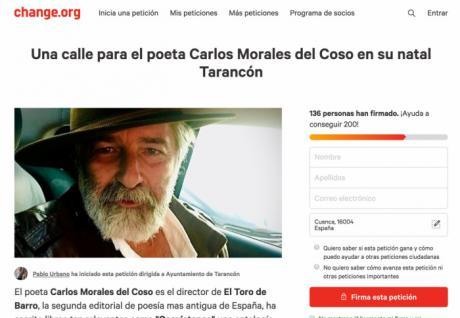 Inician una recogida de firmas para pedir una calle en Tarancón para el poeta taranconero Carlos Morales del Coso