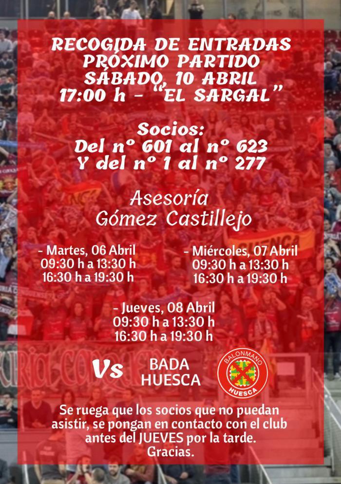 Incarlopsa Cuenca-Bada Huesca: retirada de entradas en Asesoría Gómez Castillejo