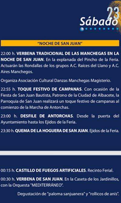 Albacete vivirá la esperada Noche de San Juan con manchegas, desfile de antorchas, quema de la hoguera, castillo de fuegos artificiales y verbena