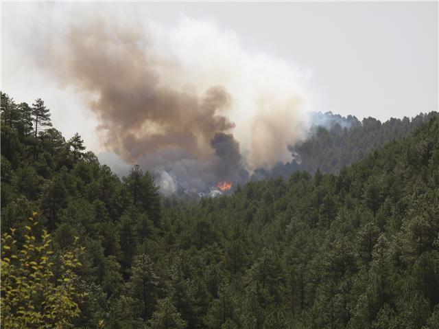 Trabajan en la extinción de un incendio en Huerta de la Obispalía