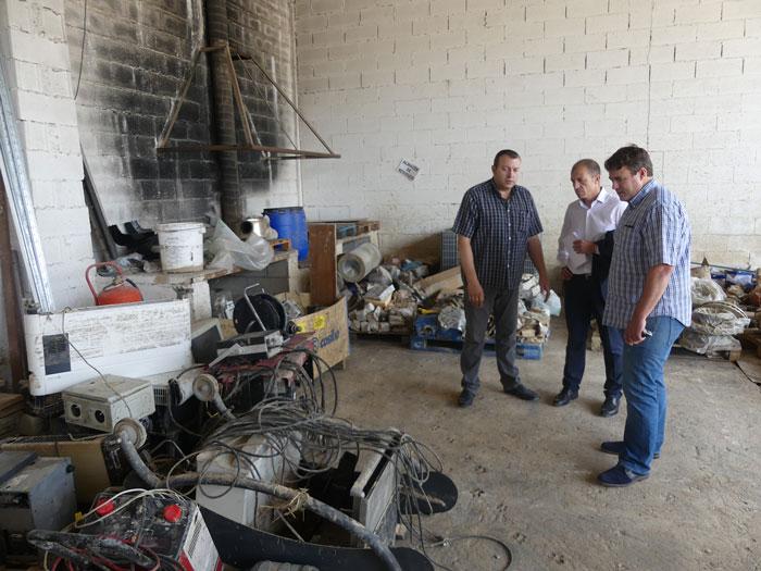 El presidente de CEOE CEPYME Cuenca se interesa por los daños que ha ocasionado la riada en los polígonos