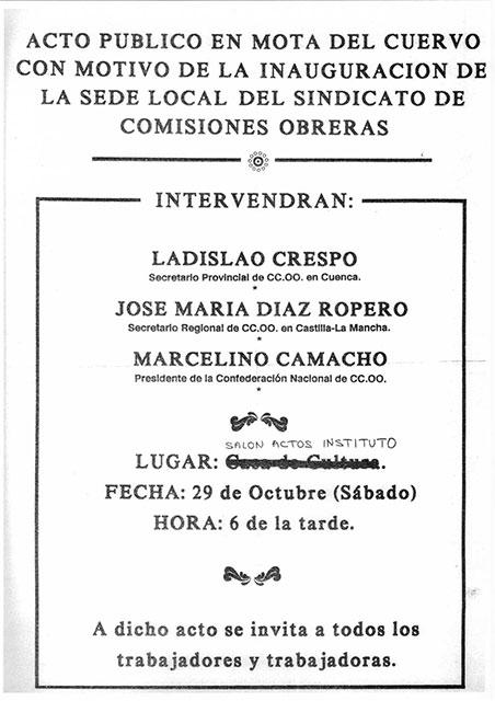 29 de Octubre: una fecha para la historia de CCOO en Mota del Cuervo