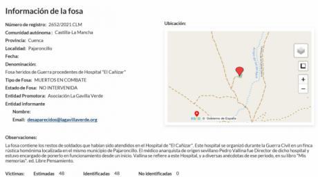 El Gobierno de España incluye la fosa común de Pajaroncillo en el mapa de fosas de España