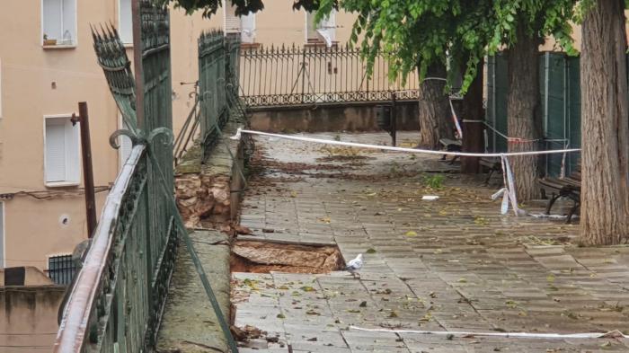 El Ayuntamiento acomete una actuación de urgencia en el muro de la calle Ramiro de Maeztu