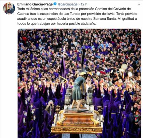 García-Page anima a las hermandades de la procesión 'Las Turbas', tras su suspensión