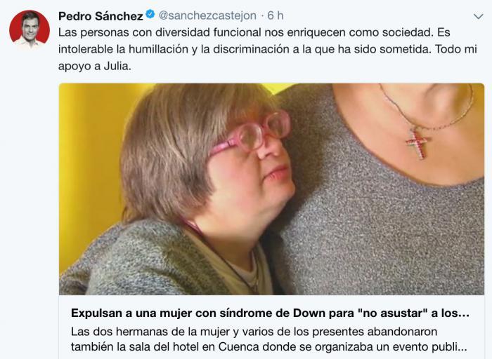 Pedro Sánchez ve 'intolerable' la expulsión de una mujer con síndrome de Down en un acto comercial en Motilla del Palancar