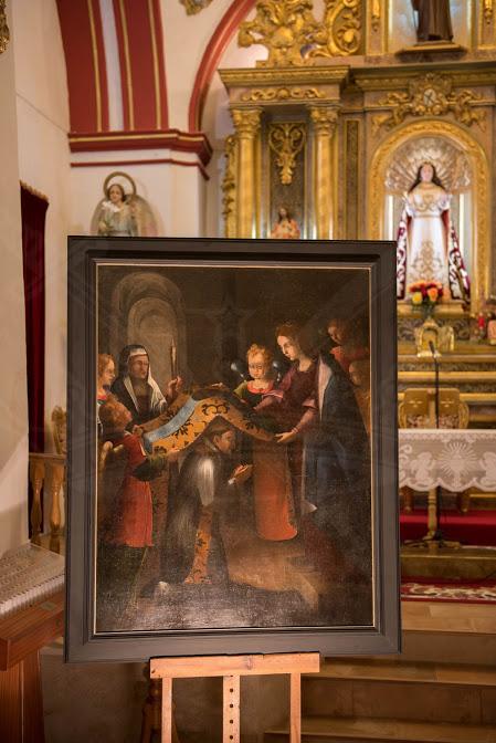 """Huete recupera la pintura restaurada de """"La Virgen impone la casulla a San Ildefonso"""""""