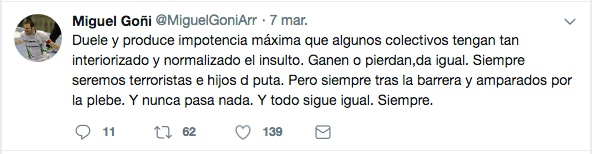 El Anaitasuna denuncia el maltrato verbal de algunos aficionados en El Sargal