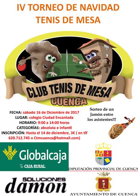 El IV torneo de Navidad de Tenis de Mesa será el 16 de Diciembre
