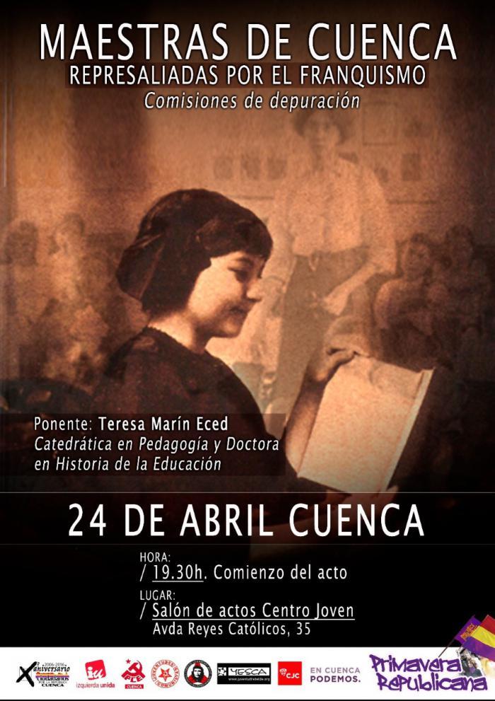 Teresa Marín Eced impartirá una charla sobre las maestras conquenses represaliadas por el Franquismo