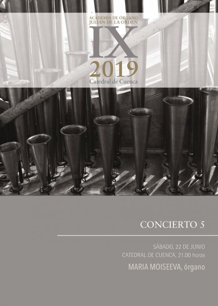 La organista rusa Maria Moiseeva, protagonizará el quinto concierto de la Academia 'Julián de la Orden'