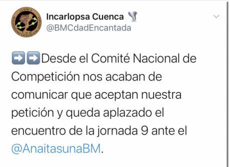 Aplazado el Incarlopsa Cuenca-Helvetia Anaitasuna de la novena jornada
