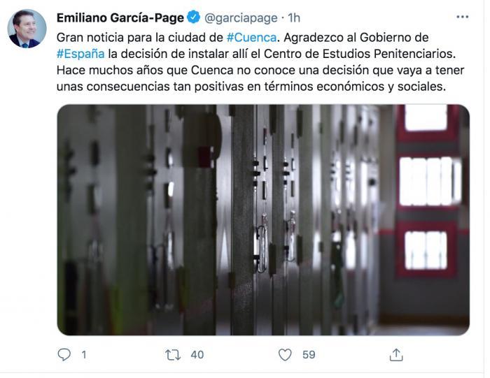 García-Page celebra que Cuenca sea la sede del Centro de Estudios Penitenciarios