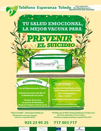 Toledo se iluminará de verde por el Día Mundial para la Prevención del Suicidio